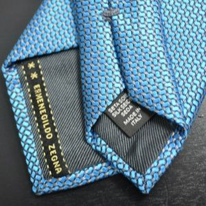 Recent Ermengildo Zegna Blue 100% Thick Silk Tie